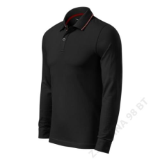 ADLER Contrast Stripe LS MALFINI galléros póló férfi, fekete