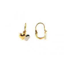 Agrianna Fehérarany és arany szíves sárga arany baba füli fülbevaló