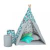 AKUKU Gyermek luxus sátor felszereléssel Teepee Akuku türkiz-szürke