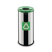 Alda Prestige EKO fém szemétkosár szelektív hulladékgyűjtésre, 45 l űrtartalom, Kapacitás: 45 L, Szín: Szürke/ezüst, Kupak színe: Zöld, Hulladék szelektálá% szemetes