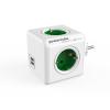 """Allocacoc Elosztó, 4 aljzat, 2 USB csatlakozó,  """"PowerCube Original USB DE"""", fehér-zöld"""