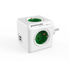 """Allocacoc Elosztó, 4 aljzat, 2 USB csatlakozó,  """"PowerCube Original USB DE"""", fehér-zöld hosszabbító, elosztó"""