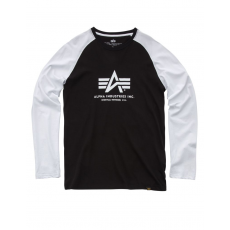 Alpha Industries Basic T LS - black/white hosszú ujjú póló