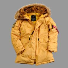 Alpha Industries Explorer női felvarró nélkül - mustár színű kabát