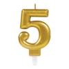 Amscan Europe GmbH AMSCAN számgyertya arany, 8cm, 5
