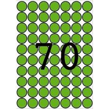 APLI Etikett, 19 mm kör, színes, A5 hordozón, APLI, zöld, 560 etikett/csomag etikett