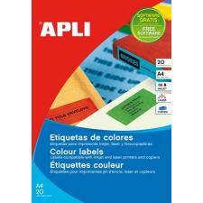 APLI Etikett, 210x297 mm, színes, APLI, sárga, 20 etikett/csomag etikett