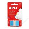 APLI Jelölőcímke, műanyag, 50 lap, 25x45 mm, APLI, kék (LCA12611)