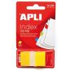 APLI Jelölőcímke, műanyag, 50 lap, 25x45 mm, APLI, sárga