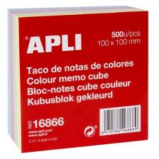 APLI Kockatömb, 100x100 mm, 500 lap, APLI, vegyes pasztell színek jegyzettömb