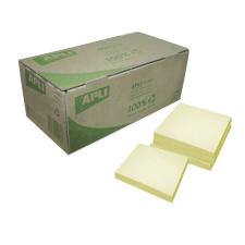 APLI Öntapadó jegyzettömb, 75x75 mm, 100 lap, újrahasznosított, APLI, sárga jegyzettömb