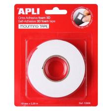 APLI Ragasztó tekercs, 3D, kétoldalas, szivacs, , 19 mm x 2,28 m, fehér ragasztószalag