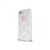 Apple iPhone 7, TPU szilikon tok, damaszkuszi virágminta, Ornament Case, fehér
