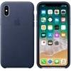 Apple iPhone X gyári bőr hátlap tok, éjkék, MQTC2ZM/A