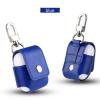 AppleKing Védő PU bőr tok Appla AirPods készülékhez karabínerrel - kék