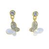 Arannyal bevont függő pillangó fülbevaló ausztriai kristályokkal + AJÁNDÉK DÍSZDOBOZ (0726.)
