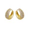 Arannyal bevont klasszikus karika fülbevaló áttetsző CZ kristályokkal + AJÁNDÉK DÍSZDOBOZ (1018.)