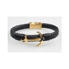 ART CRYSTELLA Karkötő, fekete fonott bőr, mágneszárral, arany színű horgonnyal, 22, 5cm, ART CRYSTELLA® karkötő