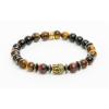 ART CRYSTELLA Karkötő, gyöngyből, tigrisszem, piros tigrisszem, hematite, arany színű Buddha dísszel, 8mm, ART CRYSTELLA