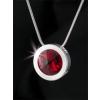 ART CRYSTELLA Nyaklánc, SWAROVSKI® kristállyal, ezüstözött kerek medállal, light siam piros, 15 mm, ART CRYSTELLA