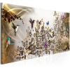 Artgeist Kép - Hummingbirds Dance (1 Part) Gold Narrow