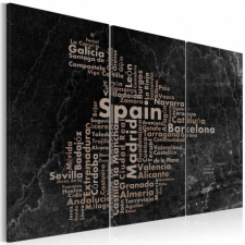Artgeist Kép - Text map of Spain on the blackboard - triptych tapéta, díszléc és más dekoráció