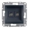 ASFORA Informatikai csatlakozóaljzat 2xRJ45, Cat6 UTP, antracit burkolattal, keret nélkül ( Schneider electric EPH4800171 )