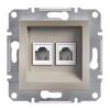 ASFORA Informatikai csatlakozóaljzat 2xRJ45 / RJ12,Cat5e UTP, bronz burkolattal, keret nélkül ( Schneider electric EPH4900169 )