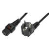 ASM Power Cable, R/A Schuko plug, HO5VV-F 3 X 1.00mm2 to C13 IEC LOCK, 2m black