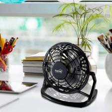 Asztali ventilátor USB csatlakozókábellel, fekete ventilátor