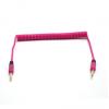 Audió kábel, 2 x 3,5 jack, 0,35 méter, spirálos, rózsaszín