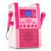 Auna KA8P-V2 PK karaoke renszer CD lejátszóval, AUX, 2 mikrofon, rózsaszín