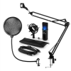 Auna MIC-900B-LED, v4 USB mikrofon készlet, fekete, kondenzátoros mikrofon, POP szűrő, mikrofonkar, LED