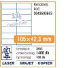 Avery Etikett -3653- 105x42,3mm FEHÉR  AVERY <100lap/dob>