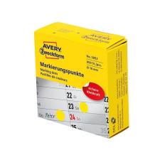 Avery Etikett AVERY 3852 öntapadó jelölőpont adagoló dobozban sárga 10mm 800 jelölőpont/doboz etikett