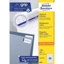 Avery Etikett címke, univerzális 48,5 x25,4 mm, 40 címke/ív, 100 ív/doboz, Avery fehér etikett