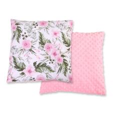 BabyLion BabyLion Prémium Két oldalas Minky párna - Rózsaszín - Virágok lakástextília
