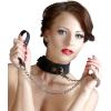 Bad Kitty - szilikon nyakörv pórázzal (fekete)