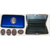 Bankkártya tartó metál kék színű ón címer matricával