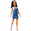 Barbie Fashionistas: barna-kék hajú baba farmerruhában