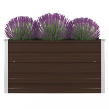 Barna horganyzott acél kerti magaságyás 100 x 100 x 45 cm kerti dekoráció