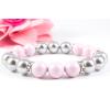 BBH Inspirations Swarovski pastel rose - light grey gyöngy karkötő, kristály rondellákkal