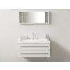 Beliani Fehér fürdoszoba bútor + mosdó + tükör - Fürdoszoba szekrény - BARCELONA