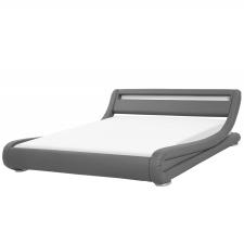 Beliani Szürke Műbőr Vízágy LED Világítással 160 x 200 cm AVIGNON ágy és ágykellék