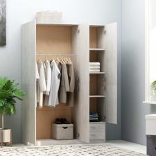 Betonszürke forgácslap háromajtós ruhásszekrény 120x50x180 cm bútor