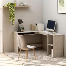 Betonszürke forgácslap L-alakú sarok-íróasztal 120x140x75 cm íróasztal