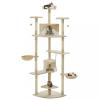 Bézs/fehér macskabútor szizál kaparófákkal 203 cm