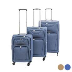BigBuy Home Kabin bőrönd Set s Szövet 3 Darabok (Szürke)