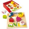 Bino Toys Színes fa formaillesztő játék dobozban