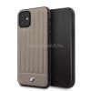 BMW iPhone 11 csíkos barna kemény bőrtok (BMHCN61POCBR)